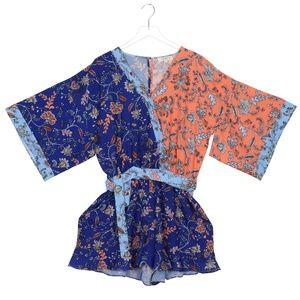 Frolicking Florals 2X Blue Kimono Sleeve Romper